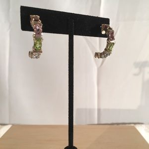 925 Multi-Gem Semi-Hoop Earrings